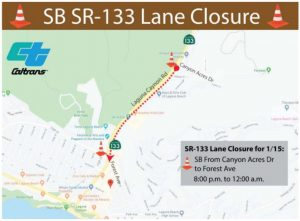 SR-133 Lane Closure For Emergency Repairs