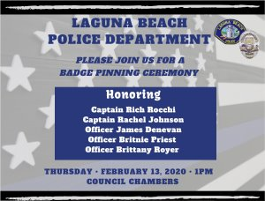 LBPD Badge Pinning Ceremony
